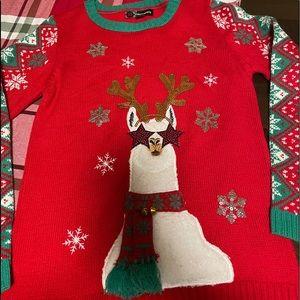 33 degrees kids xl llama Christmas sweater look